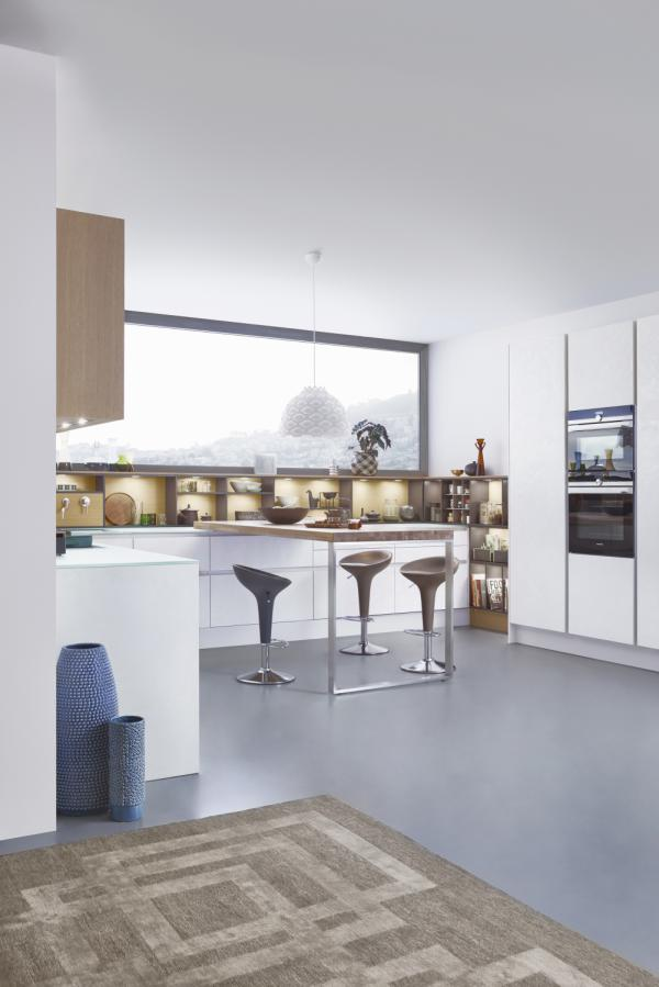 5. Leicht Concrete Topos Kitchen With Wraparound Open Shelving And Tabletop  Extension