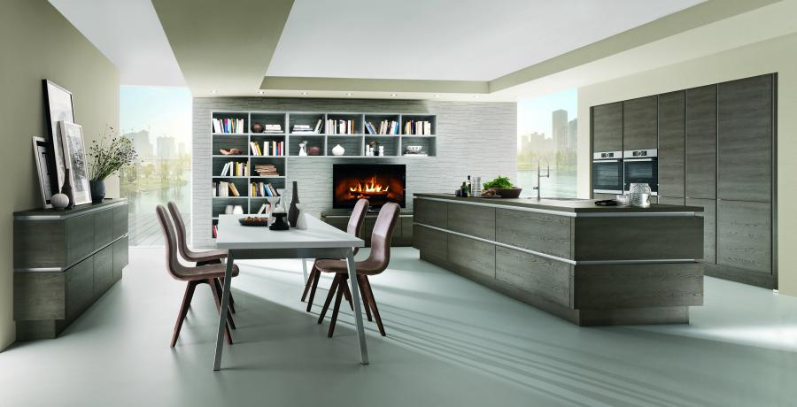 1. Nobilia Structura Open Layout Kitchen With L Shaped Library And Media  Center